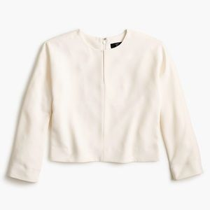 J.Crew Long Sleeve Top in 365 Crepe in color Ivory
